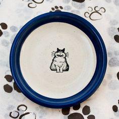 Fat Cat Curved Plate Dark Blue Small von 4pawspottery auf Etsy