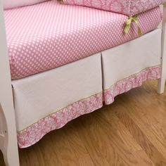 Crib skirts made in the USA by Carousel Designs. Fits any standard crib with a variety of colors and styles for your baby boy or girl. Pink Damask, Carousel Designs, Dust Ruffle, Crib Skirts, Baby Boy Or Girl, Green Accents, Box Pleats, Pink Candy, White Skirts