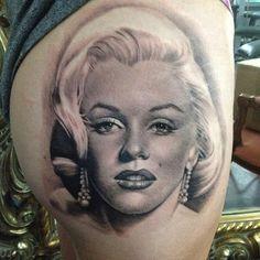 http://tattooideas247.com/marilyn-monroe/ Marilyn Monroe Portrait #Hip, #Leg, #MarilynMonroe, #Portrait, #TeneileNapoli