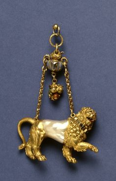 This pendant was designed around the voluptuous but irregular shape of a baroque pearl which forms part of the body of the lion.  This type of desing is associated with the late 16th cent Southern Netherlands jewelry designer Hans Collaert.