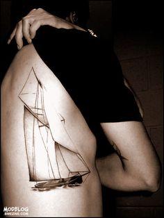 Yacht sailing tattoo