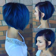 Straight Blue Bob With Layers