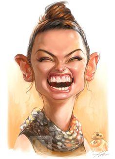 """Caricatura de la actriz de cine Daisy Ridley, en la última entrega de la saga """"Star Wars"""", realizada por el artista Angineer Ang...."""