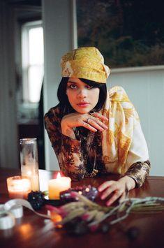 dress ROSEANNA, scarf MALENE BIRGER, silver necklace AX + APPLE, gold necklace LEAH BALL, rings NATASHA'S OWN