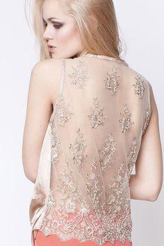 Secret Pal silk top lace back gold