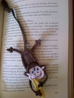 Monkey Bookmark #LittleOwlsHut, #Amigurumi,