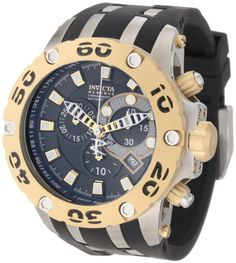 Men's Wrist Watches - Invicta Mens 0908 Subaqua Reserve Chronograph Black Dial Black Polyurethane Watch >>> Want to know more, click on the image. (This is an Amazon affiliate link)