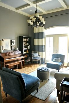 e-design before + after: formal dining room turned into a library/music room