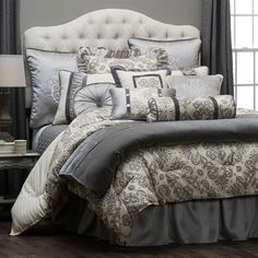Delectably Yours Kerrington Grey Bedding Comforter Set & Accessories by HiEnd Accents #DelectablyYours Bed and Bath Decor