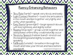 Fluency Enhancing Behaviors Freebie!  - Pinned by @PediaStaff – Please Visit  ht.ly/63sNt for all our pediatric therapy pins