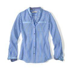 no collar striped shirt