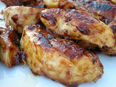 Grilled Chicken Tenderloins  (Like Cracker Barrel's)  4 boneless, skinless chicken breasts, cut into strips.  1 cup zesty Italian dressing  2 tsp lime juice  3 tsp honey