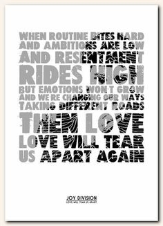JOY DIVISION - Love Will Tear Us Apart #2   -  song lyric typography  - unframed poster art  ltd edition print