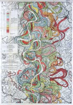 Maps produced in 1944 by Harold N. Fisk, who drew in a rainbow of colors the path of past and current flows of the lower Mississippi as the mighty river changed course and flooded over time.