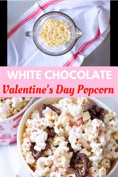 This white chocolate popcorn is perfect for Valentine's Day or any party or celebration. It's a fun sweet and salty treat and it's super easy to make. Vegan Popcorn, Popcorn Mix, Candy Popcorn, Flavored Popcorn, Gourmet Popcorn, Popcorn Recipes, Crack Popcorn Recipe, Jello Popcorn, Popcorn Toppings