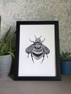 Excited to share this item from my #etsy shop: Lino Print - Limited Edition -A4 Linocut -Bumblebee print -Lino print - linoleum print on acid free paper.