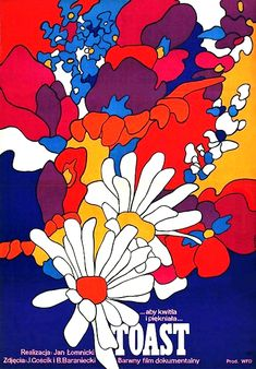 Movie poster for Polish film I've never heard of . but, oh, those graphic flowers and colors! Poster Art, Retro Poster, Kunst Poster, Design Poster, Vintage Posters, Vintage Art, Art And Illustration, Illustrations, Retro Kunst