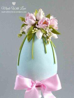 Tulip & lilac Easter egg cake~