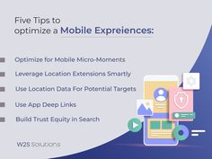 """""""A recent study says that 97% of the customers' purchasing decisions are swayed by the online experience. This sheds light on the fact that the user experience(UX) is linked to the overall customer experience. A positive user experience is an important step in transforming your customers into loyal brand advocates. Here are 5 tips to optimize your mobile user experience. #MobileExpreiences #MobileSolutions #UserExperience #MobileAppDevelopment #W2SSolutions Mobile App Development Companies, Mobile Application Development, Customer Experience, User Experience, Best Mobile, Android Apps, In This Moment, Sheds, Tips"""
