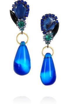 Marni|Crystal and resin clip earrings|NET-A-PORTER.COM