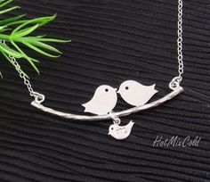 Parents and Baby Bird Necklace