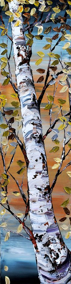 Maya Eventov's works evoke feelings of happiness, well-being and joy of life. Maya loves the rich, bold and bright colours of the Mediterranean and often portrays scenes from her travels in her landscapes and as a background for her still-lifes. Birch Trees Painting, Birch Tree Art, Watercolor Trees, Watercolor Paintings, Trees Drawing Tutorial, Beautiful Landscape Paintings, Buddha Art, Realistic Paintings, Native Art