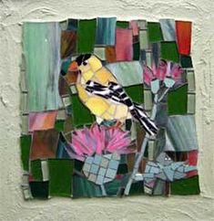 """American Goldfinch on a Thistle"" - NATURE MOSAICS : MOSAIC SONGBIRDS, LANDSCAPES, NEW ENGLAND,"