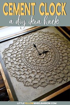 An IKEA hack to make a DIY Concrete clock.  Come check out how we pulled this clock together using an IKEA picture frame, concrete clay, and a vintage doily. #cement #clock #diyprojects #Shapecrete #weekendproject #craftideas #homedecor