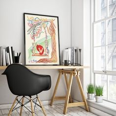 Little red fox in jungle poster