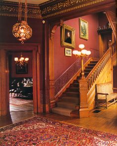 Victorian Entrance hall and staircase. Victorian Home Decor, Victorian Interiors, Victorian Homes, Victorian Fashion, Victorian Hall, Architecture Art Nouveau, Victorian Architecture, Stairs Architecture, Old Mansions