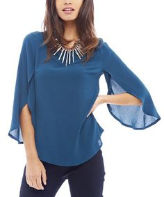 Loving this Teal Chiffon Bell-Sleeve Top on #zulily! #zulilyfinds