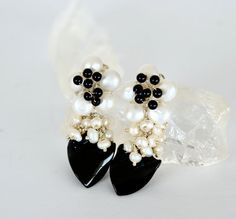 Black Onyx and Pearl Flower Earrings by luxurybyvera on Etsy,