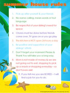 House rules for kids. Needs a little tweaking, like instead of Summer house rules, it should be everyday house rules. Summer Fun For Kids, Summer Activities For Kids, Kid Activities, Rules For Kids, Summer Schedule, Charts For Kids, Family Rules, House Rules, Kids And Parenting