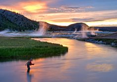 Rocky Mountain Trout Roundup - Madison River, Montana (can you see the steam from the natural hot springs rising from the river?)