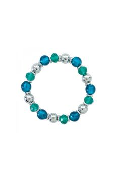 "This bracelet features vivid turquoise color & silver round beads.    Dimensions: 2"" diameter stretch    Turquoise Stretch Bracelet by Periwinkle by Barlow. Accessories - Jewelry - Bracelets Kentucky"