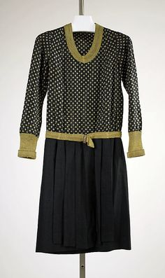 Black silk ensemble with gold metallic knit neckline, cuffs, and belt (without jacket with fur collar), House of Worth, French, ca. 1927.