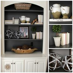 Simple Tips For Styling A Bookcase | http://www.domesticcharm.com/simple-tips-for-styling-a-bookcase/