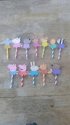 Peppa pig and friends Cupcake toppers , Peppa Pig birthday party by SilviasPartyDecor on Etsy