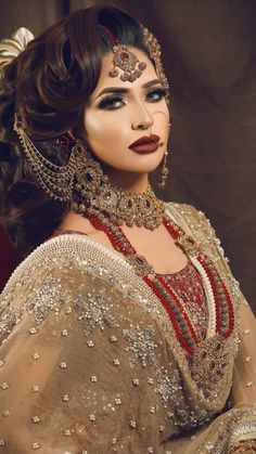 traditional inspired bridal make over let us dolled you up for ur very precious day by pinky's Asian Bridal Makeup, Bridal Makeup Looks, Indian Makeup, Bridal Hair And Makeup, Bride Makeup, Bridal Looks, Indian Beauty, Arabic Makeup, Wedding Makeup