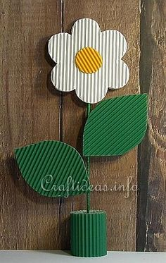 Spring Crafts for Kids - Mother's Day Craft - Corrugated Cardboard Flower Table Decoration Paper Animal Crafts, Animal Crafts For Kids, Mothers Day Crafts For Kids, Spring Crafts For Kids, Craft Projects For Kids, Paper Crafts For Kids, Preschool Crafts, Art For Kids, Craft Ideas