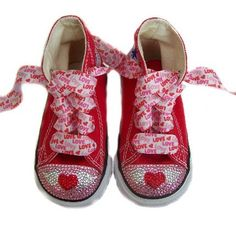 buy online 3eb38 cb27e Baby Bling Things Valentine Red Heart Converse Shoes