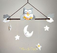 Baby Mobile - Neutral Grey and Yellow Chevron Owl Baby Mobile - for Baby Girl OR Baby Boy - Customizable Mobile - Nursery Mobile.