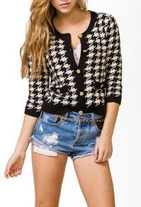 Houndstooth Wool-Blend Cardigan  *NEW arrival at Forever21
