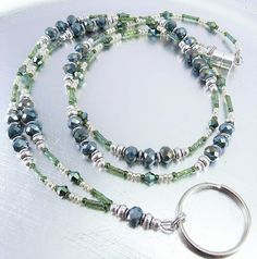 Faceted Dark Green Crystal Glass Beaded ID Lanyard, Badge Holder, ID Badge Necklace by mmojewelry on Etsy