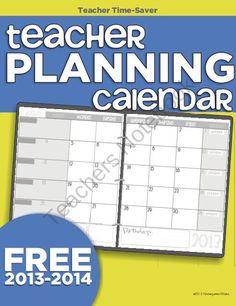 2013-2014 Teacher Planning Calendar Template from KindergartenWorks on TeachersNotebook.com (22 pages)  - Free year long teacher planning calendar. Better than the desk tablet ones!