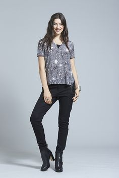 """Our """"Sweet Chaos Shirt"""" is cut with a loose fit for comfort and style, the keyhole detail with buckle strap at the back neck creates a tough but sweet look.Elegant rebellion watch out. Women Wear, Punk, Winter, Sweet, How To Wear, Shirts, Clothes, Style, Fashion"""
