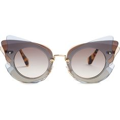 Miu Miu Butterfly-frame sunglasses ($268) ❤ liked on Polyvore featuring accessories, eyewear, sunglasses, tortoise sunglasses, tortoise shell glasses, miu miu, miu miu glasses and tortoiseshell glasses