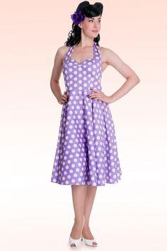 Bunny - 50s Retro halter 50s Meriam Swing dress in Polka purple white