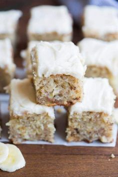 Banana Bread Bars with browned butter frosting | tastesbetterfromscratch.com