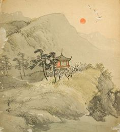 Traditional Japanese Art | antique japanese shikishi art landscape nihonga this japanese painting ...